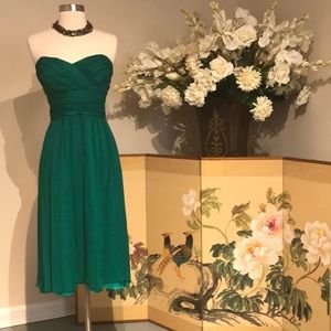 Shoshanna Emerald Green Chiffon Strapless Dress 8